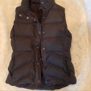 J. Crew brown fleece puffer vest xs
